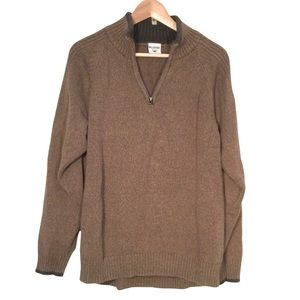 Columbia Brown Men's Knit 100% Cotton 1/4 Zip Sweater Size Large